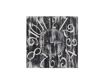 "26"" x 26"" Square Wall Clock, Custom Wall Clock, White Wall Clock, Blue Wall Clock, Unique Wall Clock, Square Wall Clock, Wall Decor"