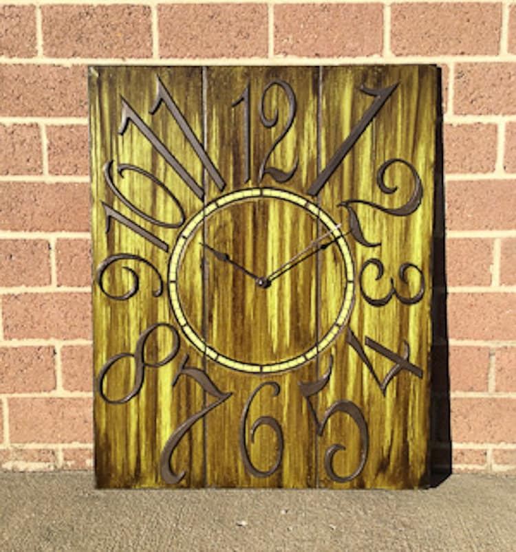 24 x 30 Bright Green and Brown Wall Clock