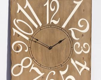 "24"" x 30"" Mocha and Cream Wall Clock, Painted Clock, Large Wall Clock, Unique Clock, Rustic Clock, Oversized Wall Clock, Wall Clock"