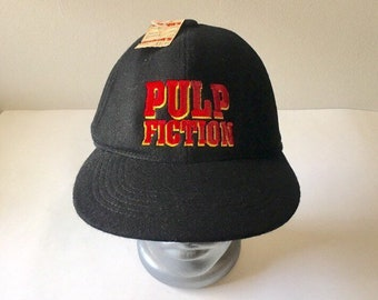 Vintage Pulp Fiction 1990s Film Snap-back Black Hat With Original Sales Tag  -RARE Tarentino Movie 0cdbacda3aae