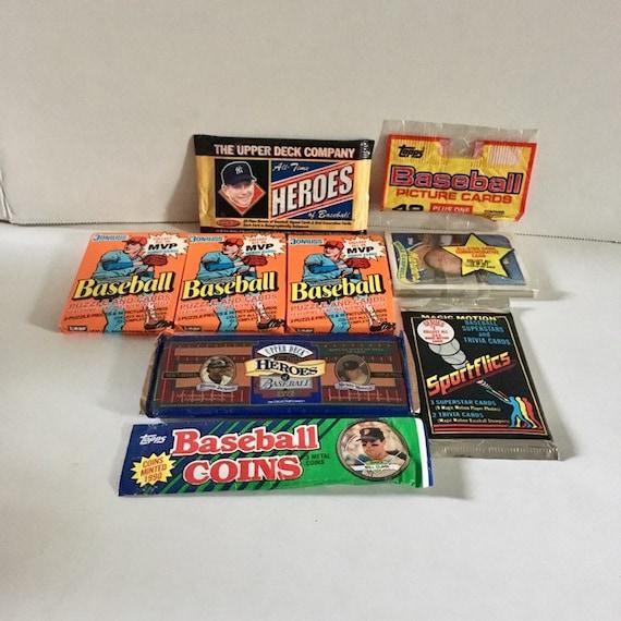 Various Vintage Unopened Baseball Card Packs 8 Donruss Topps Coins