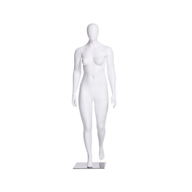 Matte White Adult Female Plus Size Fiberglass Egg Head Fashion Mannequin #F3D01W