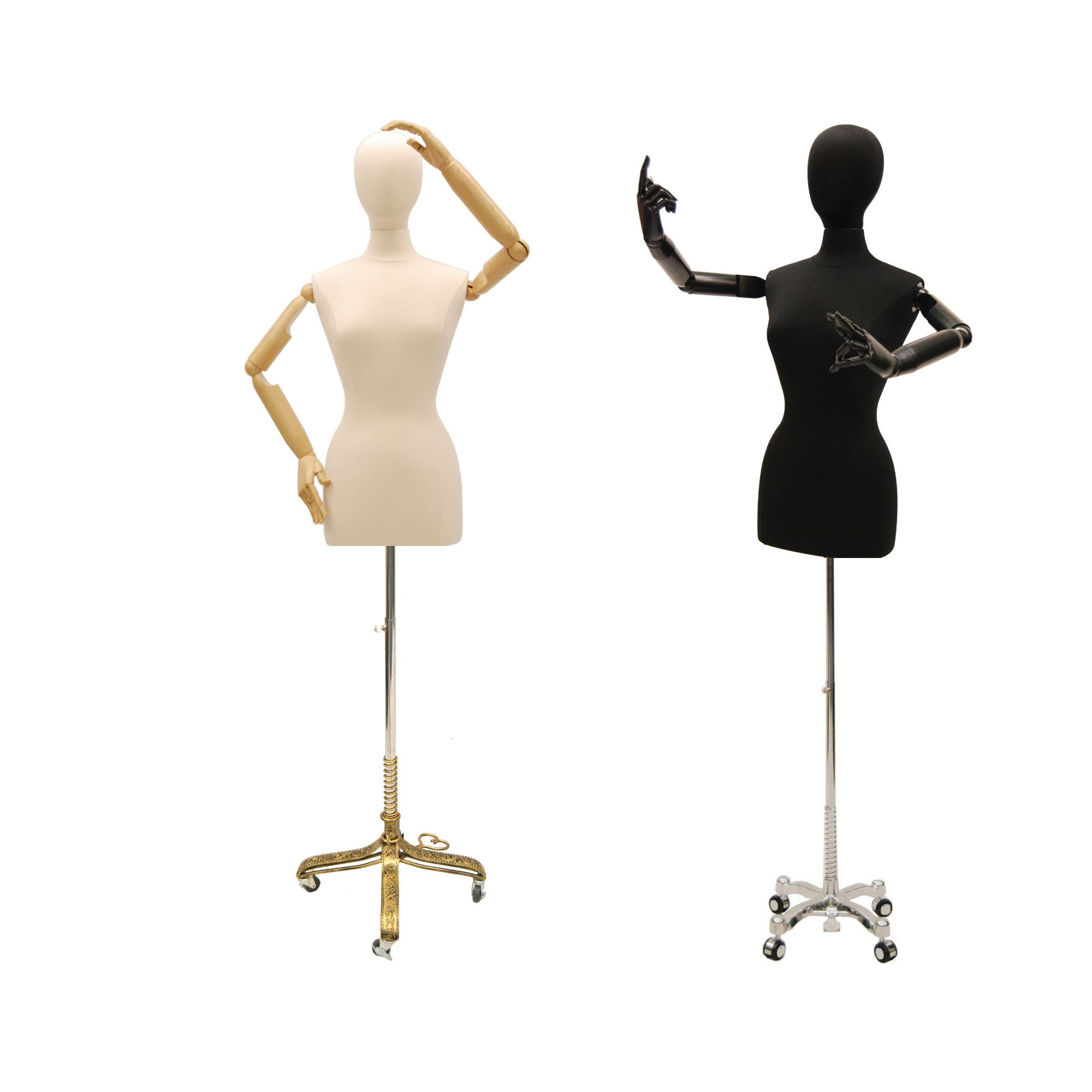 Mannequin Torso Display with Flexible Wooden Arms With Brushed Steel Stand