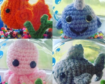 No Fuss Flush or Feed Fish / Octopus / Narwhal / Shark Crochet Amigurumi