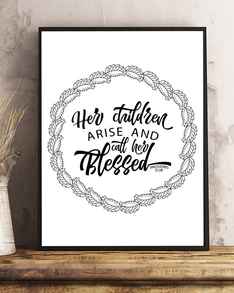 Printable Bible Verse Coloring Page Proverbs 31 28 Her Etsy
