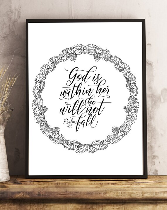 Scripture Coloring Pages Psalm 46:5 God Is Within Her She Etsy