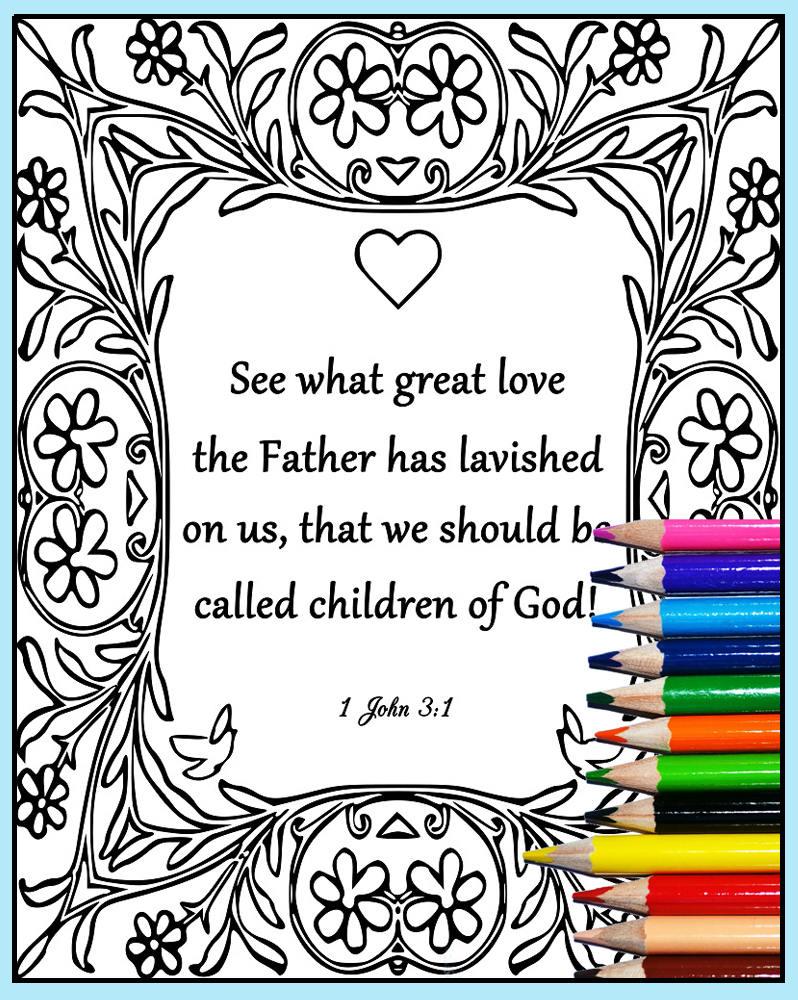 Druckbare Bibelvers Färbung 1 Johannes 3:1 Schrift Färbung   Etsy