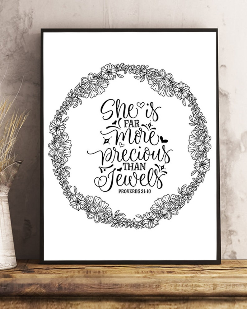 Scripture Coloring Page Proverbs 31 10 Printable Bible Etsy