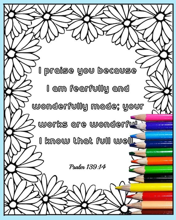 Printable Bible Verse Coloring Psalm 139 14 Scripture Etsy