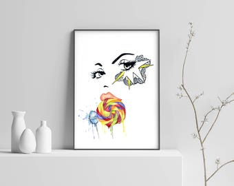 Lollipop, Pop Art, Girl, Watercolor
