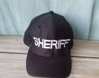 244d9b75abac2 Y2K Snapback Retro Black Sheriff hat