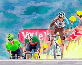 Romain Bardet - Tour de France - Cycling Print - 2017 Stage 12, Peyragudes - Gifts for Cyclists