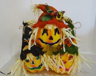 Vintage Halloween Lighted Pumpkin Head Fiber Optic Scarecrow