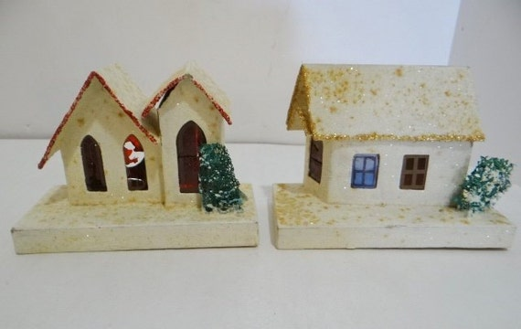 Cardboard Christmas Houses.2 Vintage Christmas Putz Paper Cardboard House Mica Marked Japan Stained Paper Windows Trees Glitter
