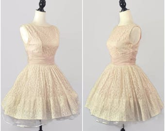 Vintage 50s Pink Ivory Lace Prom Party Dress Small Cupcake Full Circle Skirt Mini Swing Chiffon