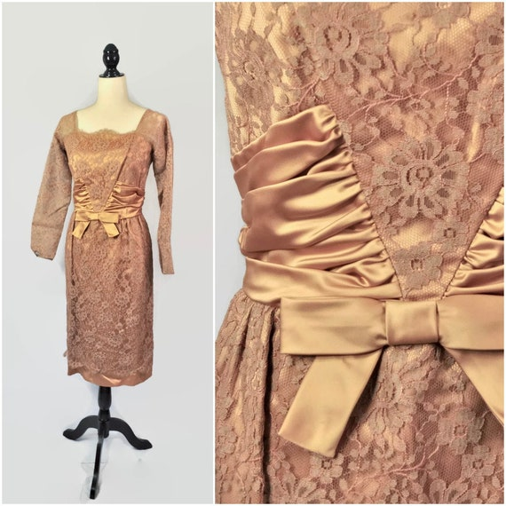 Vintage 50s Lace Dress, Satin Bow, 1950s Pin Up, Copper Taupe, Square Neck, Small XS