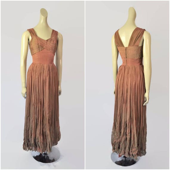 Vintage 40s Dress, Silk Chiffon, 1940s Evening Gow