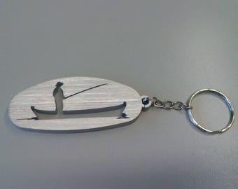 Pescatore, uomo in barca, portachiavi passione pesca in alluminio