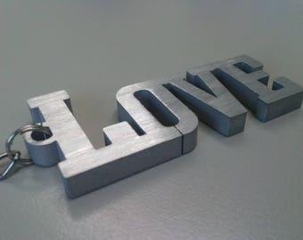 Portachiavi scritta LOVE in alluminio, regalo innamorati pensiero San Valentino