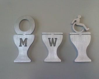 Targhette toilette, insegna per porta toilette, uomo - donna - disabili, in alluminio con biadesivo