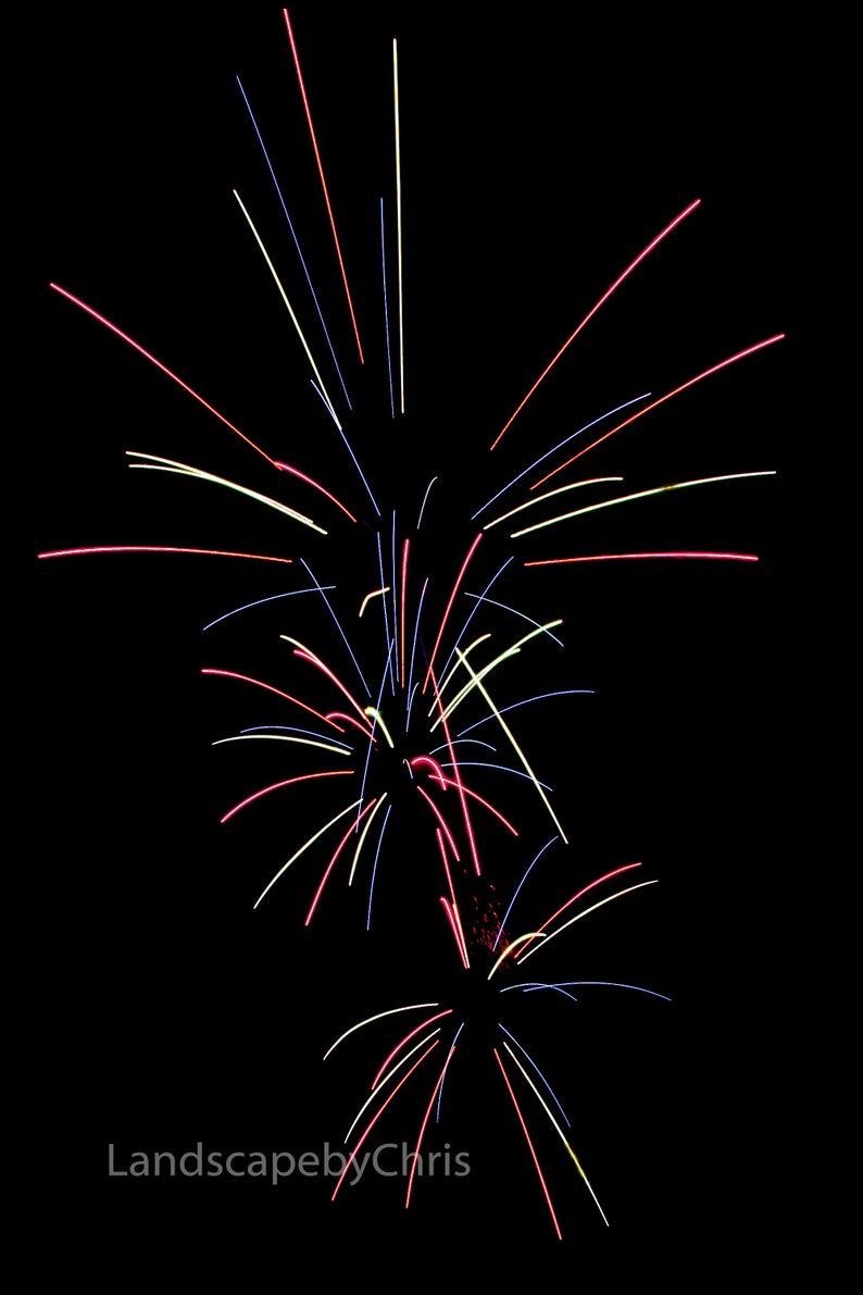 Fireworks Photo  Abstract Art  Wall Decor  4th of July Photography  Multiple Colors Picture  Canvas-Metal-Print  Fine Art