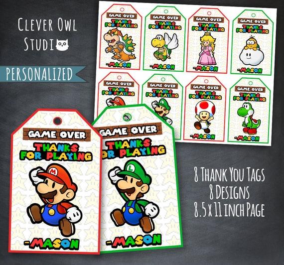 Super Mario Thank You Tags Super Mario Tags Super Mario Etsy