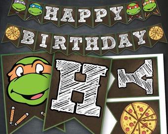 TMNT Banner, TMNT Birthday Banner, TMNT Party, tmnt Printable, Teenage Mutant Ninja Turtles Banner, Ninja Turtles, Digital, Instant Download
