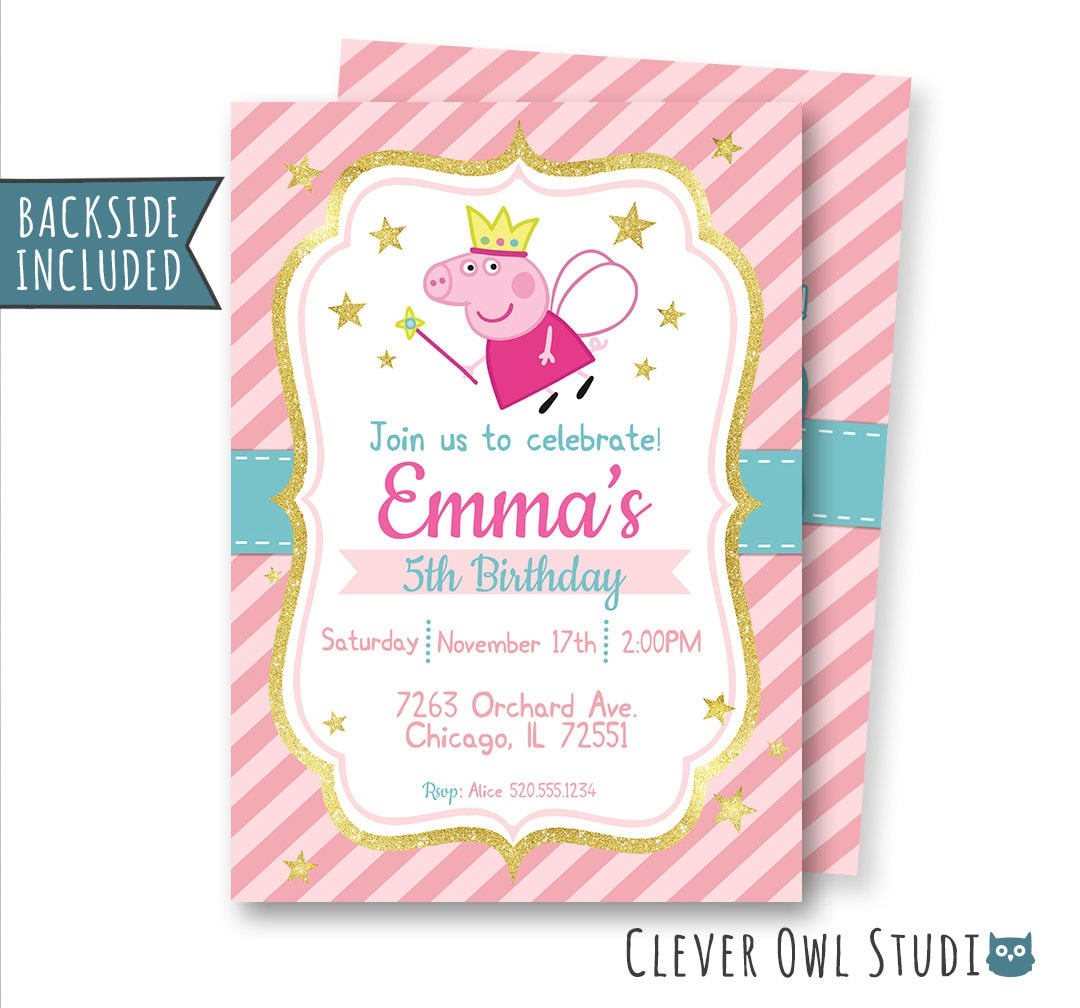Peppa Pig Invitation Peppa Pig Birthday Invitation Peppa Pig | Etsy