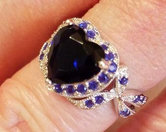 Sapphire Quartz & White Topaz Gemstone Heart Sterling Silver Ring, 3 ct.  Size - 6