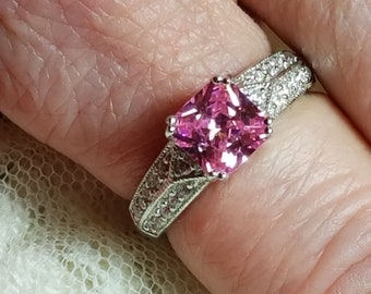 Engagement Pink Sapphire & White Topaz Emerald Cut Gemstone Sterling Silver Ring, 2 ct.  Size - 8