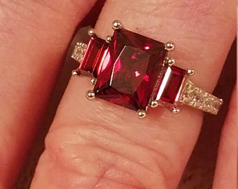 6 Size 2 ct Vintage Gatsby Pink Sapphire Gemstone Double Heart Sterling Silver Ring