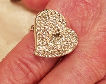 Vintage White Topaz Gemstone Free Form Large Heart Sterling Silver Ring, 2 ct.  Size - 8