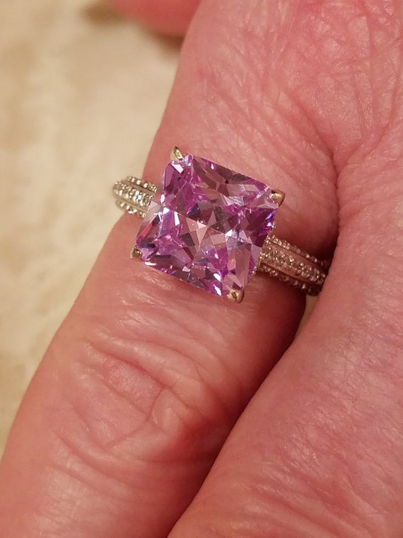 5.5 925 Sterling Silver Amethyst White Topaz Wedding Engagement Ring Size