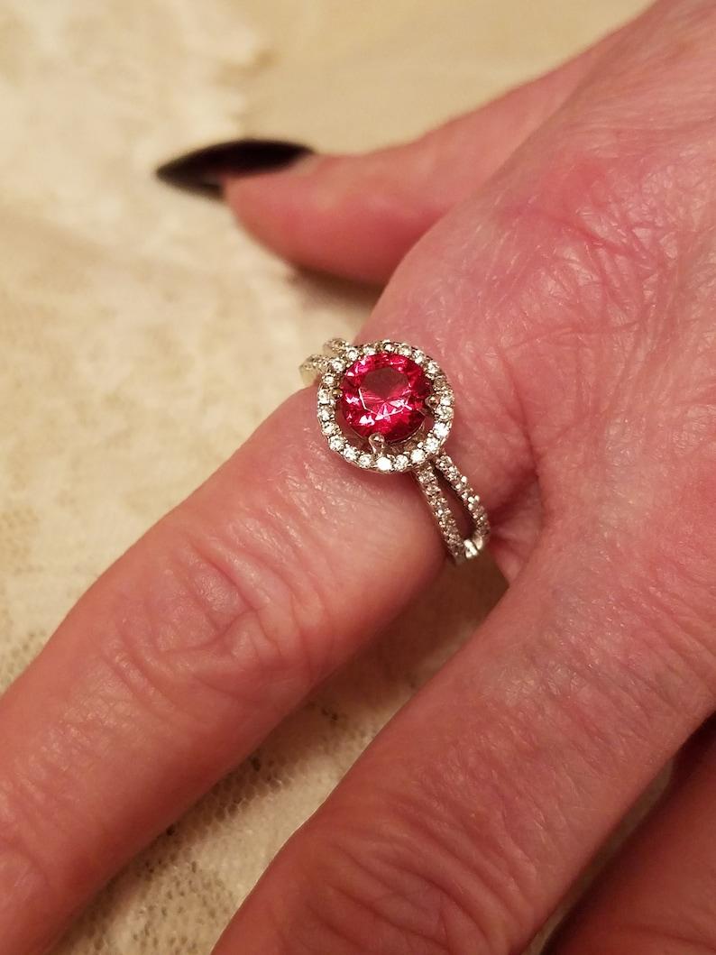 8 Size 2 ct Alternative Engagement Ruby /& White Topaz Round Cut Gemstone Sterling Silver Ring