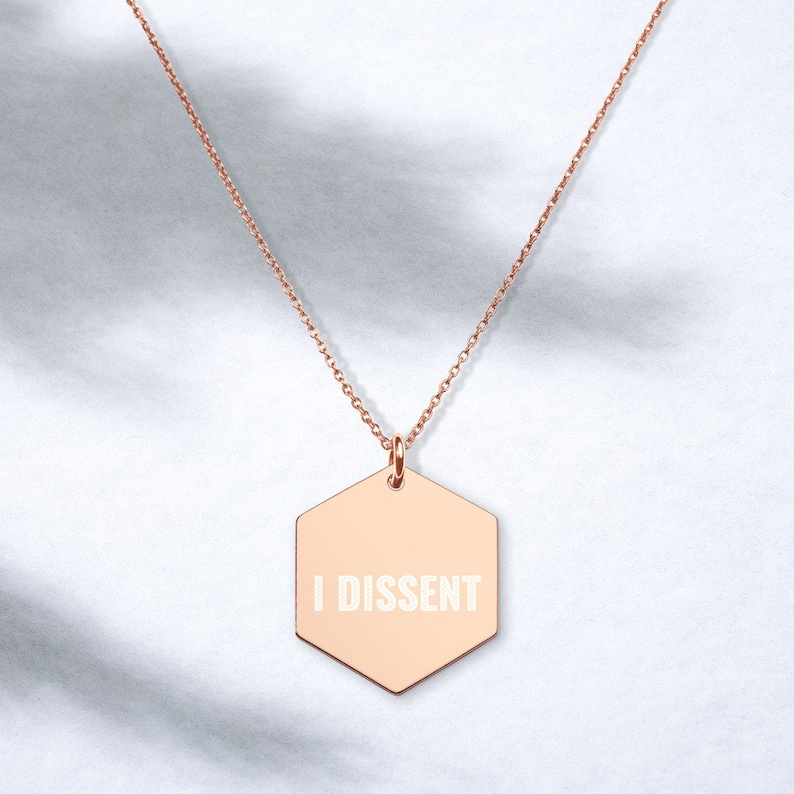 Notorious RBG Necklace Ruth Bader Ginsburg Hexagon I Dissent Engraved Silver Hexagon Necklace Jewelry Supreme Court Justice