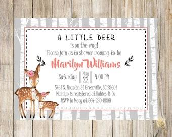 Woodland Girl Baby Shower Invitation, Deer, Fox