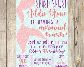 Mermaid Birthday Party, Under The Sea Birthday Party, Mermaid Pool Party Invitation
