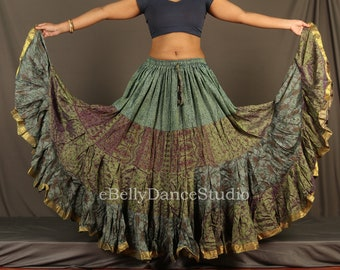 Fairy Skirt Tribal Skirt Belly Dance Skirt Bohemian Isis Layering Skirt Festival Clothing Other Colors Silver Hand Printed Costume