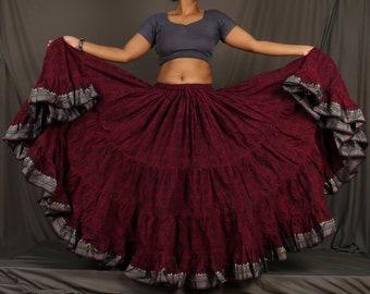 64f72f34c Burgundy Cotton Jaipur 25 Yard Skirt ATS Gypsy Belly Dance 25 Yard Skirts  25 Yard Padma Lotus Skirt Renaissance Fair Goddess Maharani Skirts