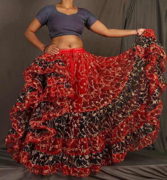 Teal Satin 25 Yard 5 Tiered Gypsy Skirt Belly Dance Tribal Jupe Flamenco