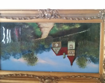 """Antique primitive reverse painted glass scene """" Country home"""" with fancy giltframe"""