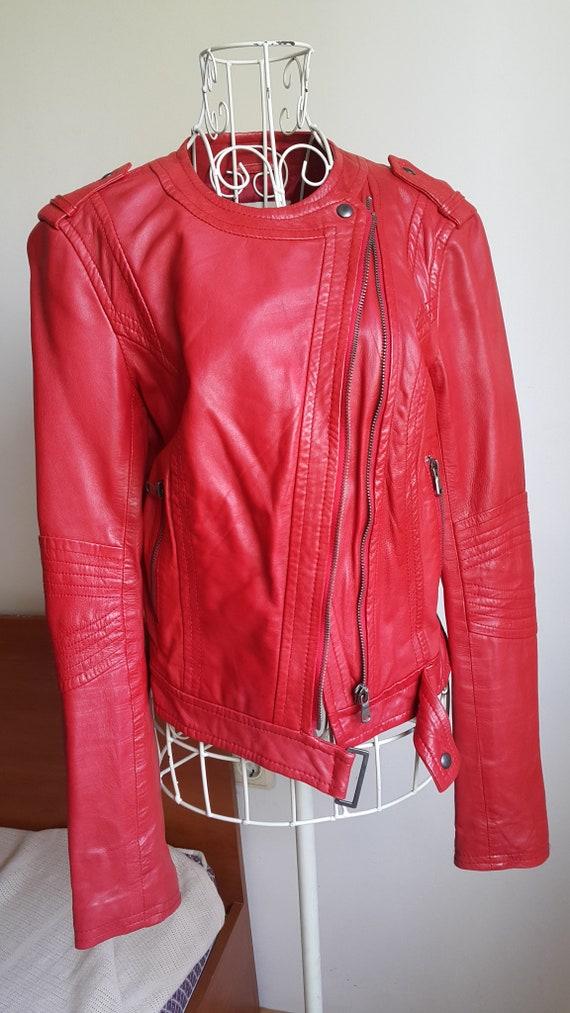 Women Red Leather Jacket,Red Motorbike Jacket, Wom