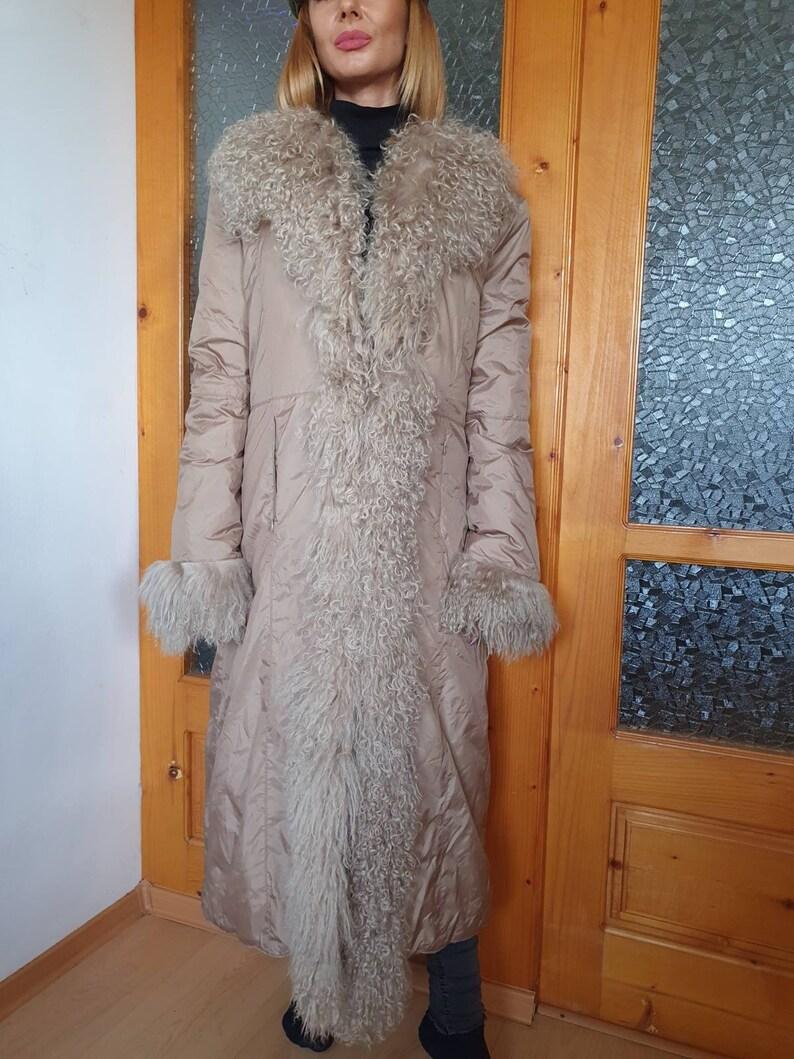 Beige Fur Coat, Vintage real tibetan mongolian fur shawl puffer coat real ribetan mongolian fur collar jacket Tibetan Fur Puffer Coat