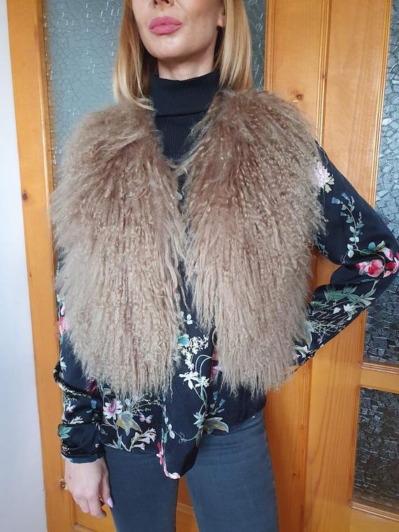 Vintage Real Mongolian Fur Coat, Real Tibetan Fur