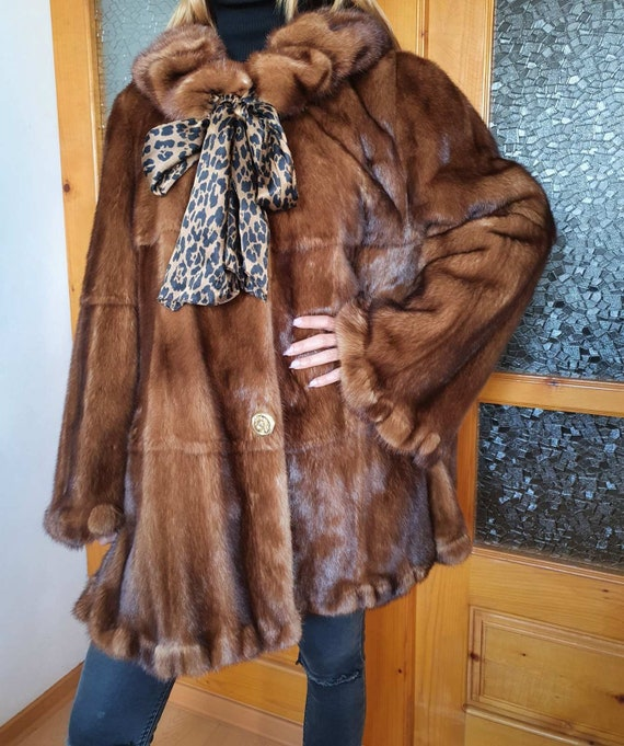 Mink Fur Coat, Womens Mink Fur Coat, Whiskey Mink