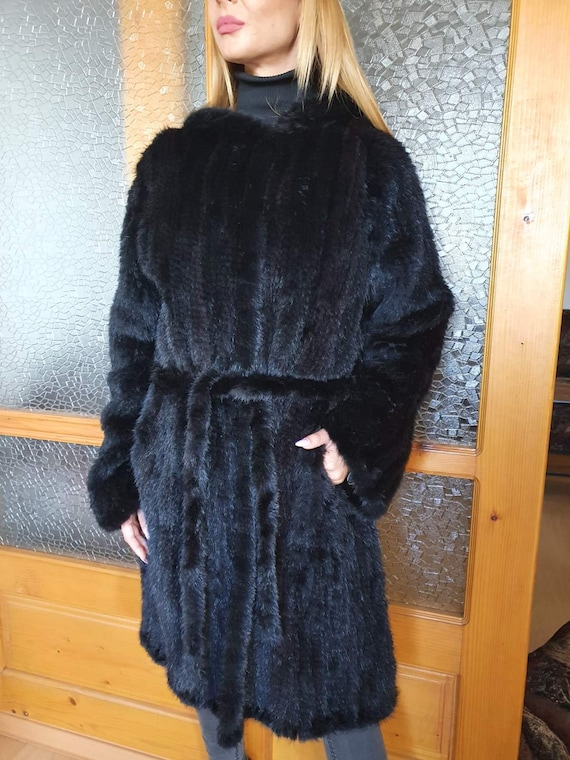 Knitted Mink Fur Coat, Black Mink Fur Coat, Hooded