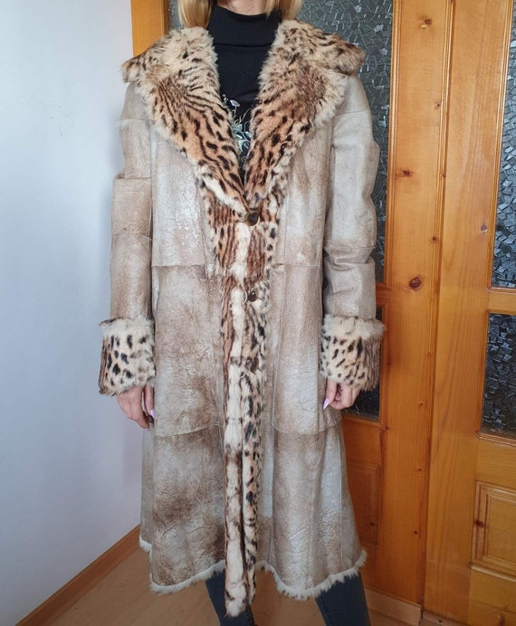 Vintage Leopard Print Real Rabbit Fur Coat, Real F