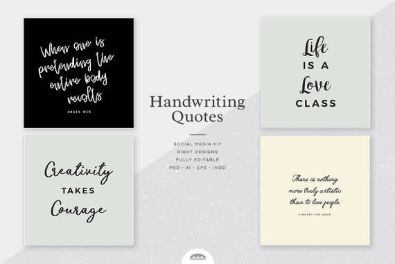 Handwriting Quote Social Media Kit Instagram Template Etsy