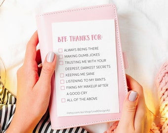 Best Friend Card Funny BFF Birthday Thank You For Bestie