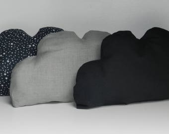 To order: Trio of pillows with grey clouds customizable decoration baby room